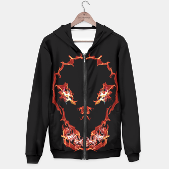 Thumbnail image of Flaming Skull Gothic Art Hoodie, Live Heroes