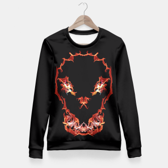 Thumbnail image of Flaming Skull Gothic Art Fitted Waist Sweater, Live Heroes
