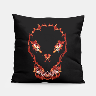 Thumbnail image of Flaming Skull Gothic Art Pillow, Live Heroes