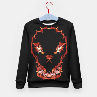 Thumbnail image of Flaming Skull Gothic Art Kid's Sweater, Live Heroes