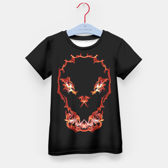 Thumbnail image of Flaming Skull Gothic Art Kid's T-shirt, Live Heroes