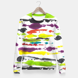 Miniature de image de Artistic bright neon hand painted stripes  Fitted Waist Sweater, Live Heroes