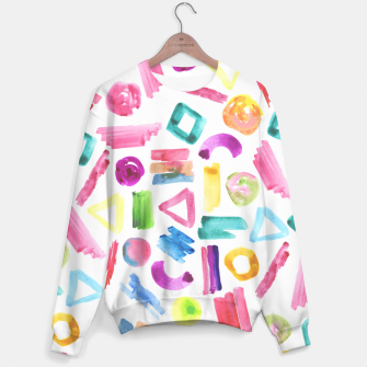 Thumbnail image of Modern bright pink teal watercolor colorful brushstrokes shapes  Sweater, Live Heroes