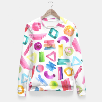 Thumbnail image of Modern bright pink teal watercolor colorful brushstrokes shapes  Fitted Waist Sweater, Live Heroes