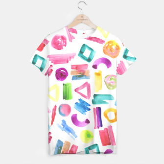 Thumbnail image of Modern bright pink teal watercolor colorful brushstrokes shapes  T-shirt, Live Heroes