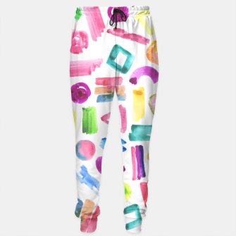 Thumbnail image of Modern bright pink teal watercolor colorful brushstrokes shapes  Sweatpants, Live Heroes