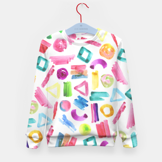 Thumbnail image of Modern bright pink teal watercolor colorful brushstrokes shapes  Kid's Sweater, Live Heroes