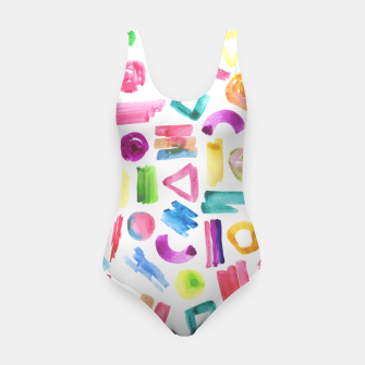 Thumbnail image of Modern bright pink teal watercolor colorful brushstrokes shapes  Swimsuit, Live Heroes