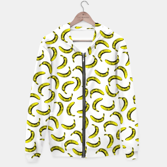 Thumbnail image of Modern bold bright yellow banana pattern  Hoodie, Live Heroes