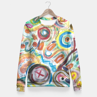 Thumbnail image of Abstract Art Design  Fitted Waist Sweater, Live Heroes
