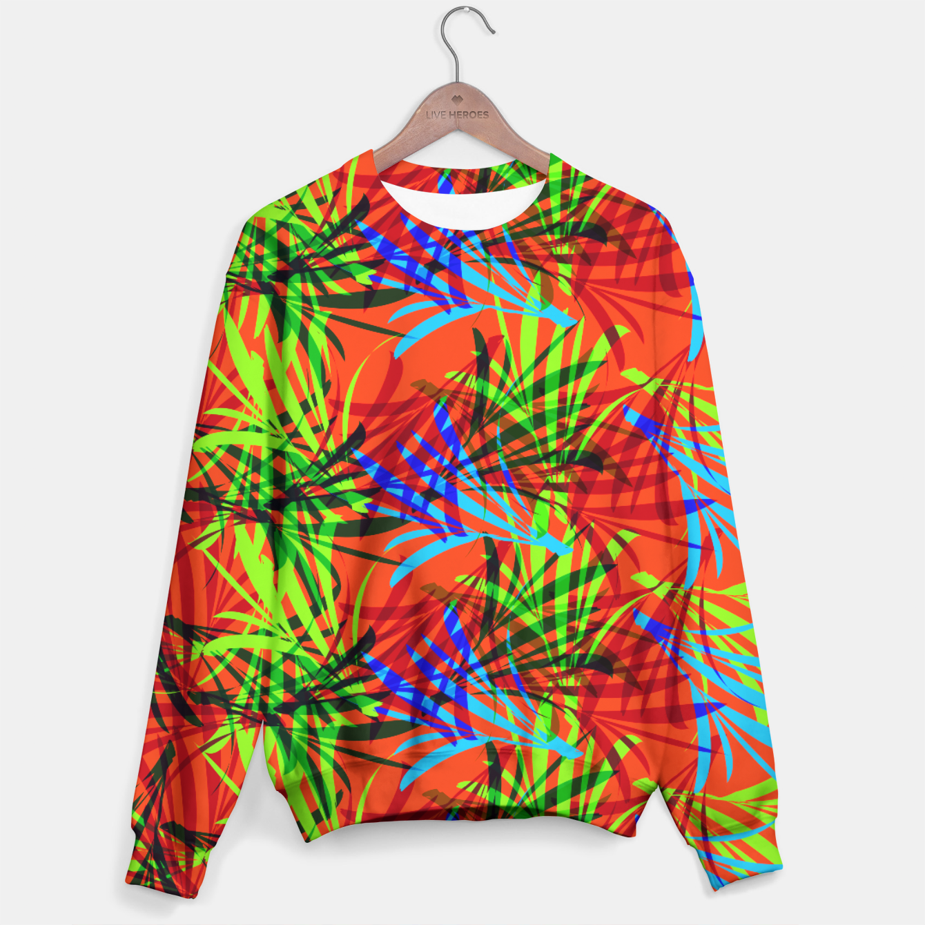 Image of Tropical Summer Vibrant Colorful Leafy Print Sweater - Live Heroes