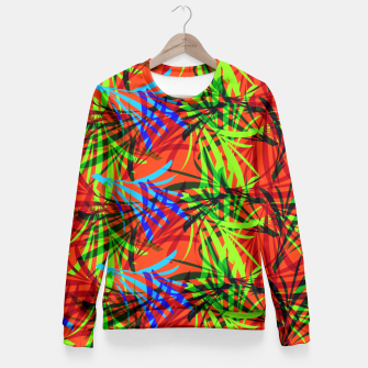 Thumbnail image of Tropical Summer Vibrant Colorful Leafy Print Fitted Waist Sweater, Live Heroes