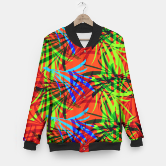 Thumbnail image of Tropical Summer Vibrant Colorful Leafy Print Baseball Jacket, Live Heroes