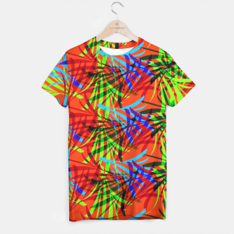 Thumbnail image of Tropical Summer Vibrant Colorful Leafy Print T-shirt, Live Heroes