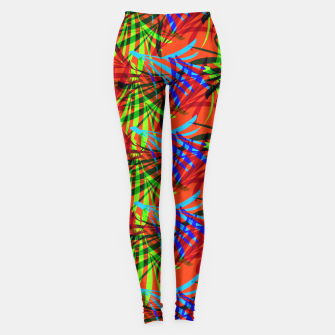 Thumbnail image of Tropical Summer Vibrant Colorful Leafy Print Leggings, Live Heroes