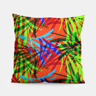 Thumbnail image of Tropical Summer Vibrant Colorful Leafy Print Pillow, Live Heroes