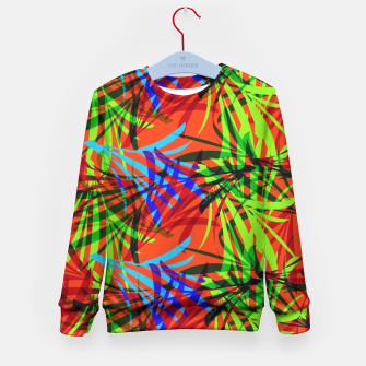 Thumbnail image of Tropical Summer Vibrant Colorful Leafy Print Kid's Sweater, Live Heroes