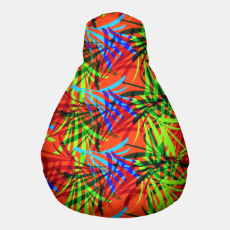 Thumbnail image of Tropical Summer Vibrant Colorful Leafy Print Pouf, Live Heroes