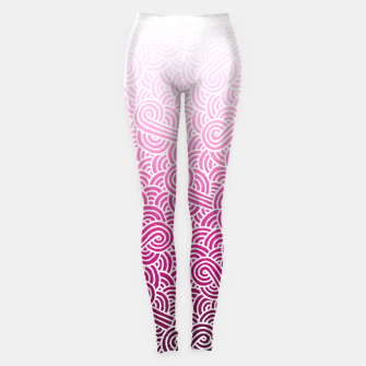 Thumbnail image of Ombre pink and white swirls doodles Leggings, Live Heroes
