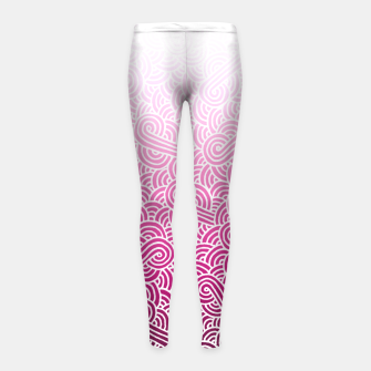 Thumbnail image of Ombre pink and white swirls doodles Girl's Leggings, Live Heroes