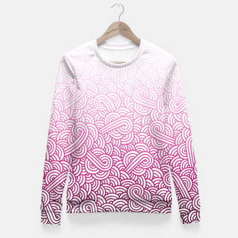Thumbnail image of Gradient pink and white swirls doodles Fitted Waist Sweater, Live Heroes