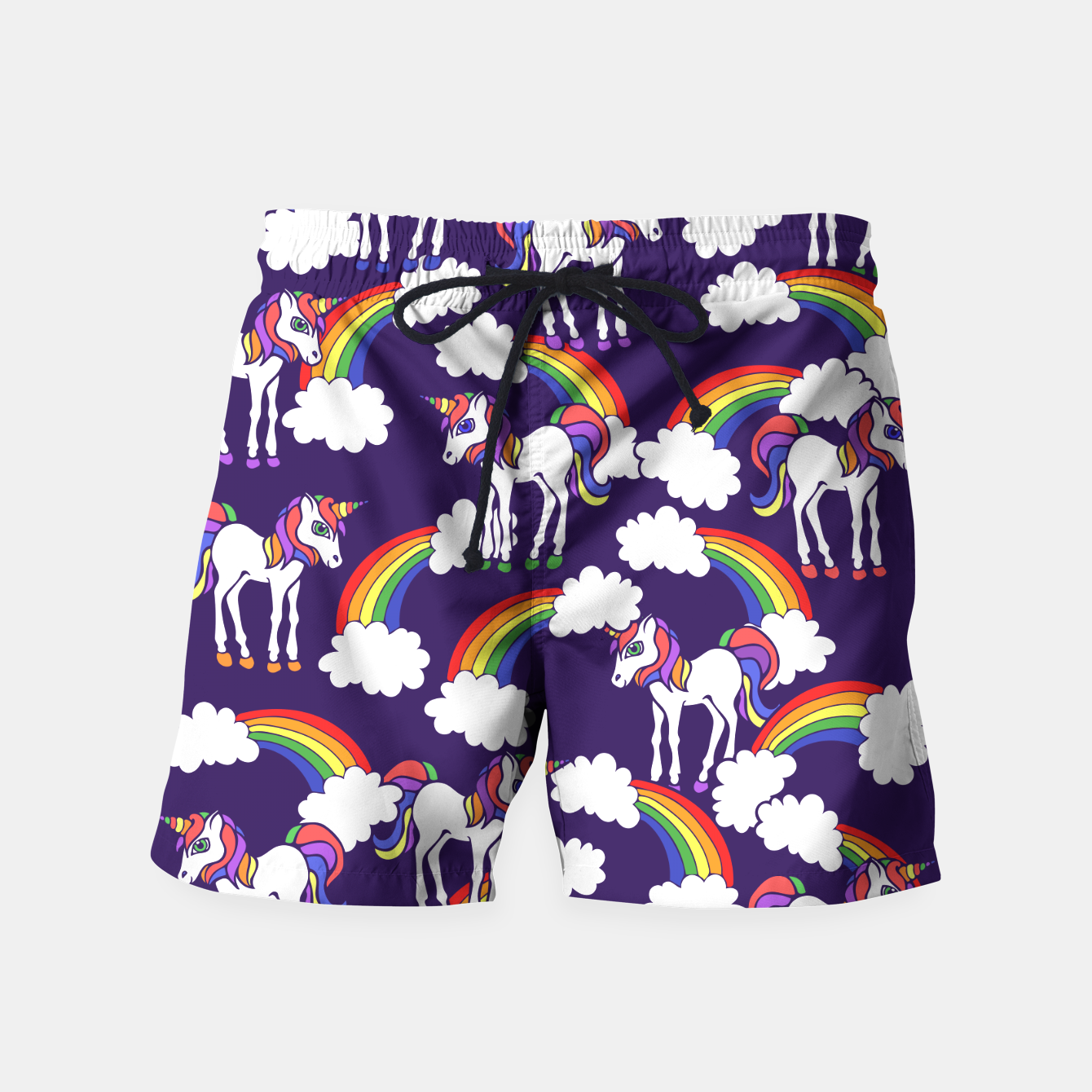 dd0779216c466 Rainbows and Unicorns Pattern Unicorn lover Swim Shorts, Live Heroes