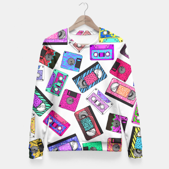 Miniatur Retro 80's 90's Neon Patterned Cassette Tapes Fitted Waist Sweater, Live Heroes