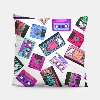 Miniatur Retro 80's 90's Neon Patterned Cassette Tapes Pillow, Live Heroes