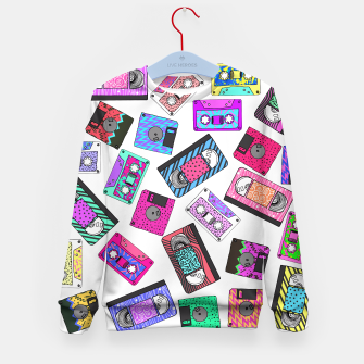 Miniatur Retro 80's 90's Neon Patterned Cassette Tapes Kid's Sweater, Live Heroes