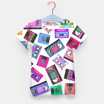 Miniatur Retro 80's 90's Neon Patterned Cassette Tapes Kid's T-shirt, Live Heroes