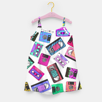 Miniatur Retro 80's 90's Neon Patterned Cassette Tapes Girl's Dress, Live Heroes