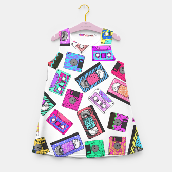 Miniatur Retro 80's 90's Neon Patterned Cassette Tapes Girl's Summer Dress, Live Heroes