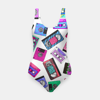 Miniatur Retro 80's 90's Neon Patterned Cassette Tapes Swimsuit, Live Heroes