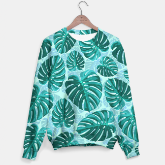 Thumbnail image of Tropical Leaf Monstera Plant Pattern Sweater, Live Heroes