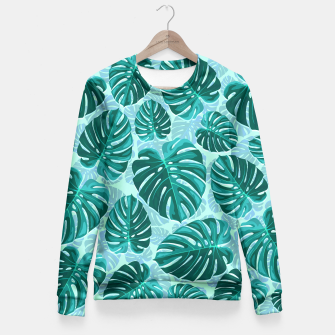 Thumbnail image of Tropical Leaf Monstera Plant Pattern Fitted Waist Sweater, Live Heroes