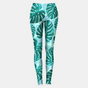 Thumbnail image of Tropical Leaf Monstera Plant Pattern Leggings, Live Heroes