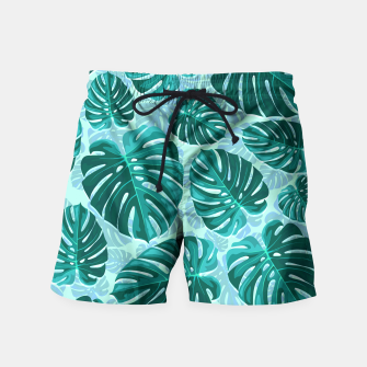Thumbnail image of Tropical Leaf Monstera Plant Pattern Swim Shorts, Live Heroes