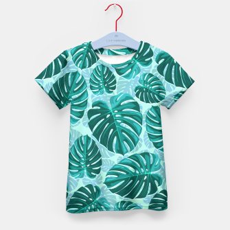 Thumbnail image of Tropical Leaf Monstera Plant Pattern Kid's T-shirt, Live Heroes