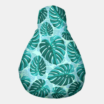Thumbnail image of Tropical Leaf Monstera Plant Pattern Pouf, Live Heroes