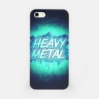 Miniature de image de HEAVY METAL! ( Green Splatter Typo Design ) iPhone Case, Live Heroes