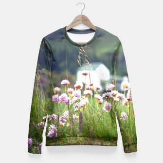 Thumbnail image of Purple Clover Wild Flowers  Fitted Waist Sweater, Live Heroes