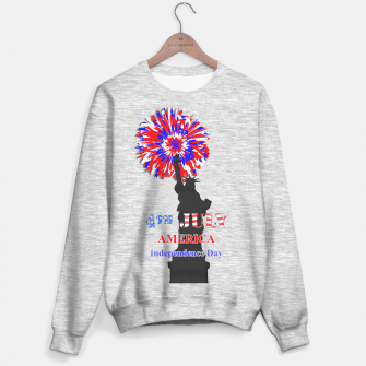 Thumbnail image of Happy 4th Of July Statue Of Liberty American Patriotic Graphic Sweater, Live Heroes