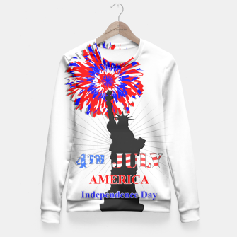 Thumbnail image of Happy 4th Of July Statue Of Liberty American Patriotic Graphic Fitted Waist Sweater, Live Heroes