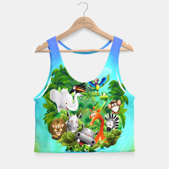 Thumbnail image of Wild Animals Cartoon on Jungle Crop Top, Live Heroes