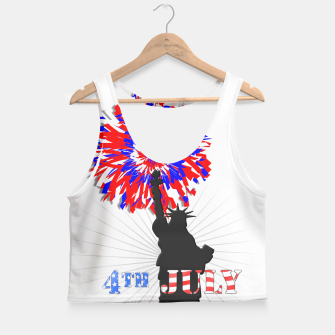 Thumbnail image of Happy 4th Of July Statue Of Liberty American Patriotic Graphic Crop Top, Live Heroes