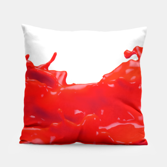 Thumbnail image of Glossy Red Paint Splash Pillow, Live Heroes