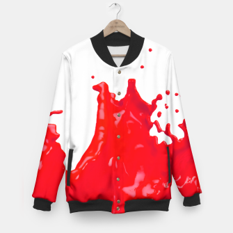Thumbnail image of Glossy Red Paint Splash 02 Baseball Jacket, Live Heroes