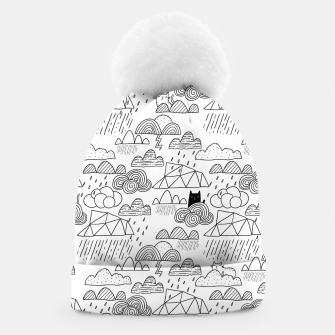 Miniaturka Doodle rainy clouds and cats Beanie, Live Heroes