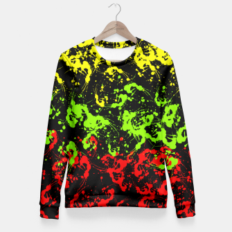 Thumbnail image of Rasta Paint Splatter  Fitted Waist Sweater, Live Heroes