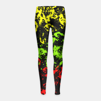 Thumbnail image of Rasta Paint Splatter  Girl's Leggings, Live Heroes